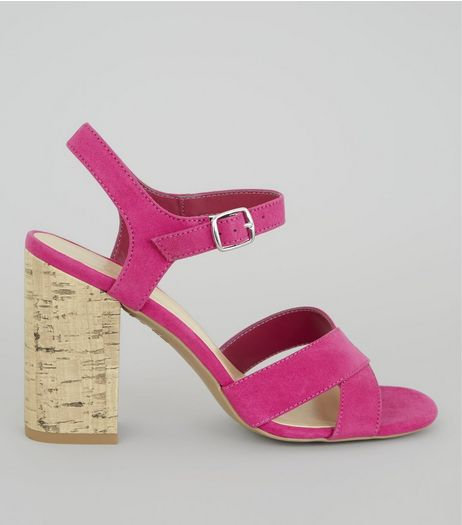 Pink Suedette Cross Strap Cork Block Heeled Sandals | New Look