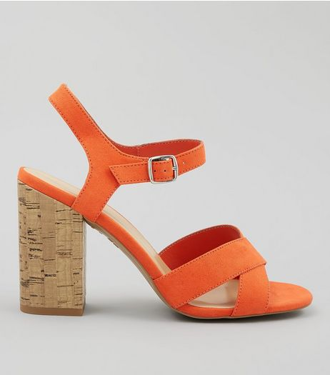 Orange Suedette Cross Strap Cork Block Heeled Sandals | New Look