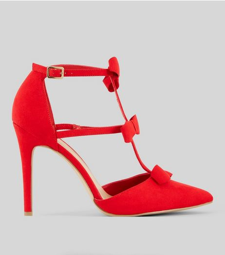 Red Suedette Bow Strap Heeled Sandals | New Look