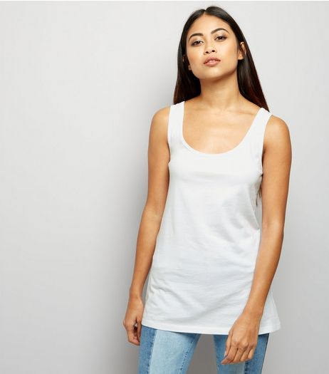 Petite White Scoop Neck Vest | New Look
