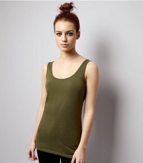 Petite Khaki Scoop Neck Vest | New Look