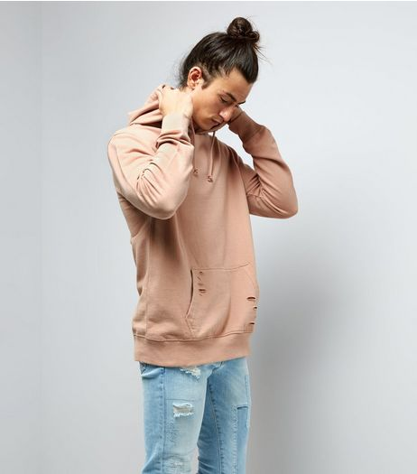 Pink Distressed Hoodie  | New Look