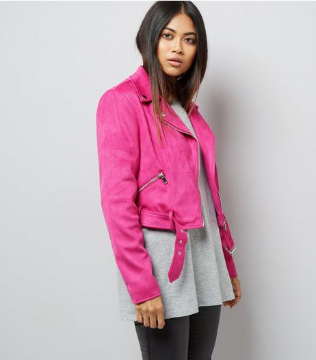 Petite Bright Pink Suedette Biker Jacket | New Look