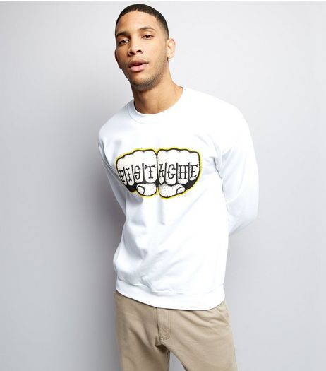 Street Art Collection White Pistache Fist Print Sweater | New Look