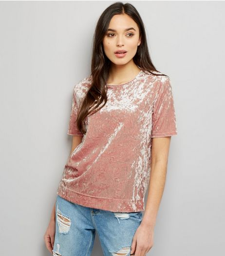Tall Pink Crushed Velvet T-Shirt | New Look