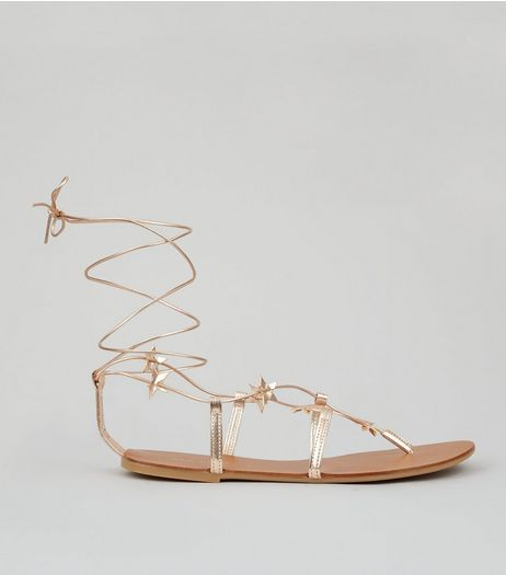 Rose Gold Star Strap Ghillie Sandals | New Look