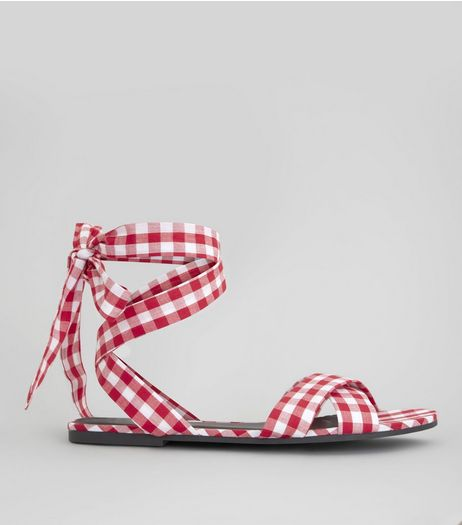Red Gingham Ankle Tie Sandals | New Look