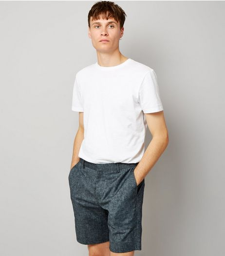 Blue Cross Hatch Tailored Shorts | New Look