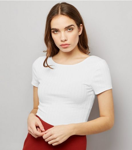 Tall White Ribbed Scoop Back T-Shirt | New Look