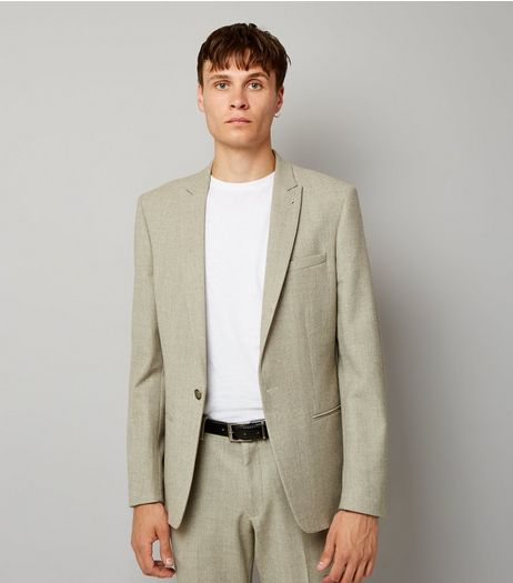 Stone Warm Handle Skinny Fit Blazer | New Look