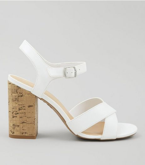 White Cross Strap Cork Block Heeled Sandals | New Look