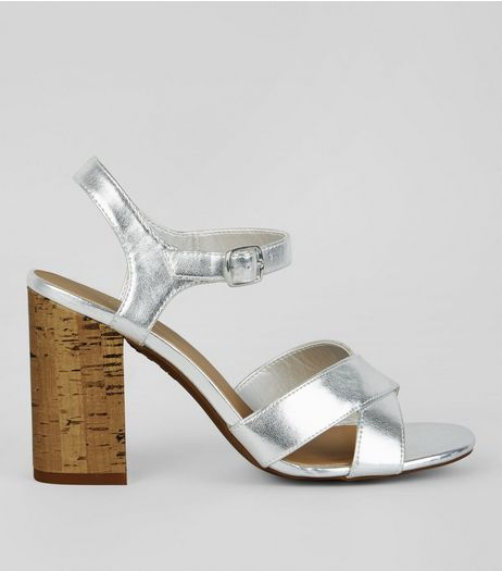 Silver Metallic Cross Strap Cork Block Heeled Sandals | New Look