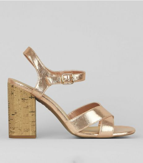 Rose Gold Metallic Cross Strap Cork Block Heeled Sandals | New Look