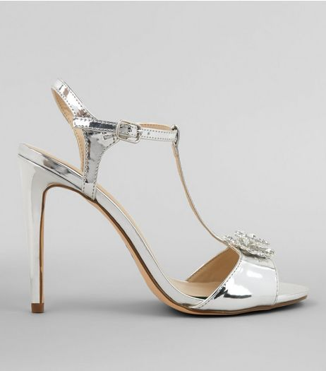 Silver Metallic Metal Badge Heeled Sandals | New Look
