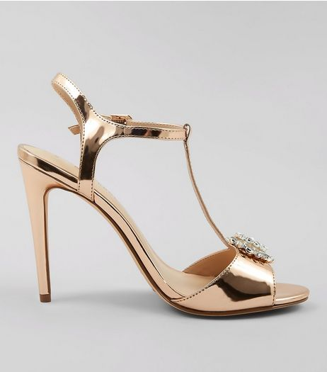 Rose Gold Metallic Metal Badge Heeled Sandals | New Look