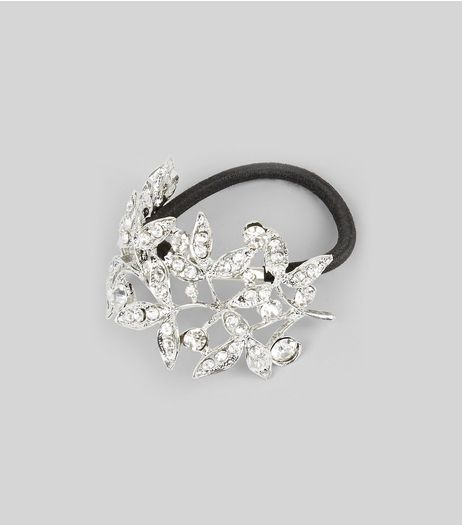 Silver Diamante Flower Hairband | New Look