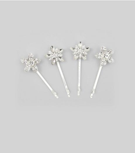 4 Pack Silver Gem Flower Hair Slides | New Look