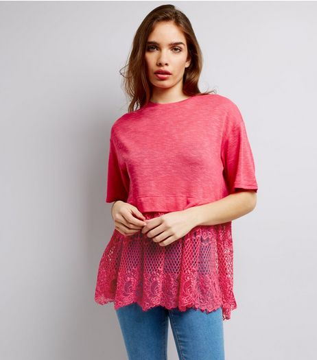 Bright Pink Lace Hem T-Shirt  | New Look
