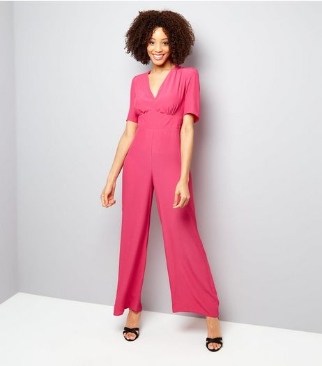 Bright Pink V Neck Jumpsuit  | New Look