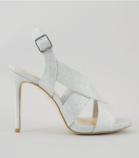 Wide Fit Silver Glitter Cross Strap Sling Back Heels | New Look