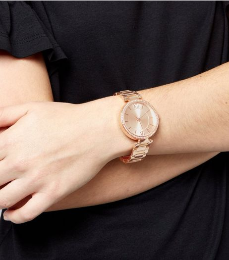 Rose Gold Crystal Trim Watch | New Look