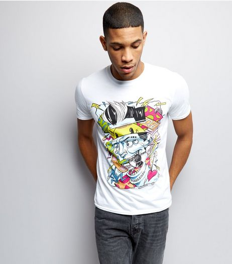 Street Art Collection White Si Mitchell Print T-Shirt | New Look
