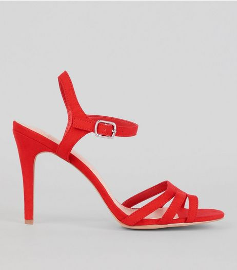 Wide Fit Red Comfort Suedette Strappy Heeled Sandals | New Look
