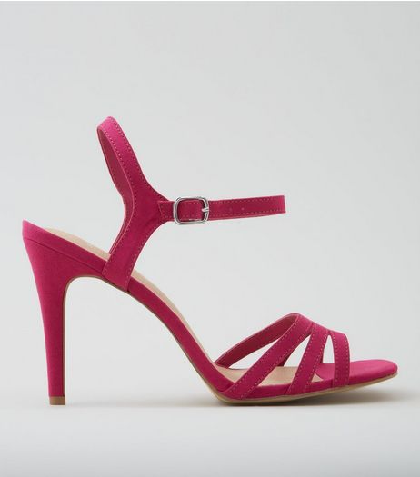 Wide Fit Pink Comfort Suedette Strappy Heels | New Look