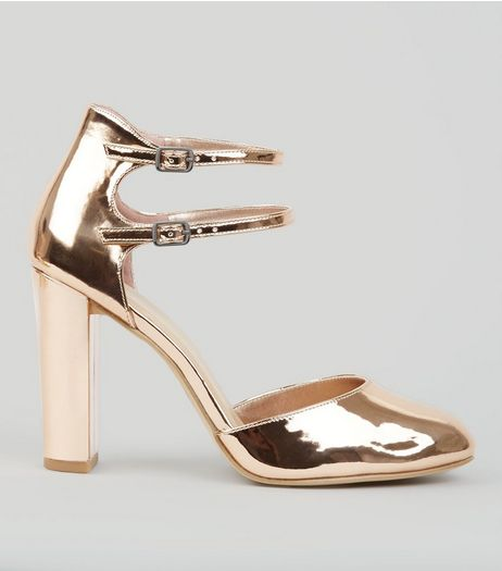Wide Fit Rose Gold Double Ankle Strap Heels | New Look