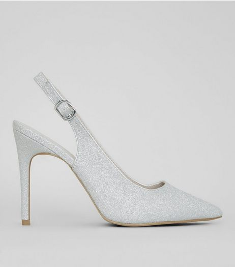 Wide Fit Silver Glitter Pointed Heels  | New Look