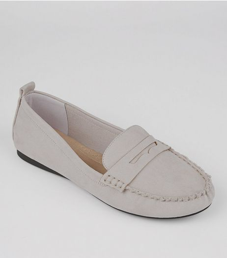 Wide Fit Grey Comfort Suedette Loafers  | New Look
