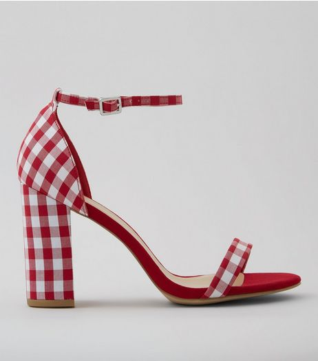 Wide Fit Red Gingham Ankle Strap Heels | New Look