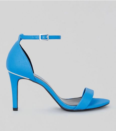 Wide Fit Neon Blue Textured Heeled Sandals | New Look