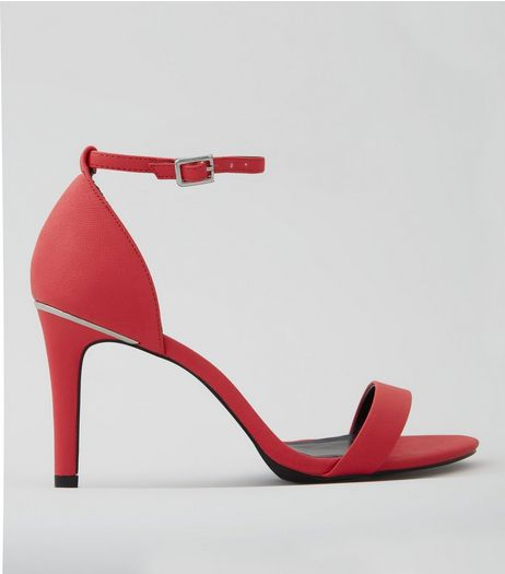 Wide Fit Neon Pink Textured Heeled Sandals | New Look