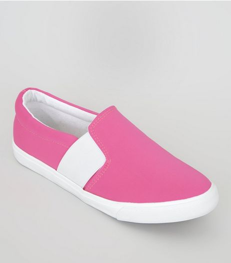Wide Fit Pink Plimsolls | New Look