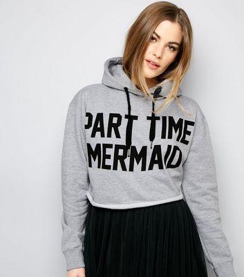 Parisian Grey Part Time Mermaid Cropped Hoodie