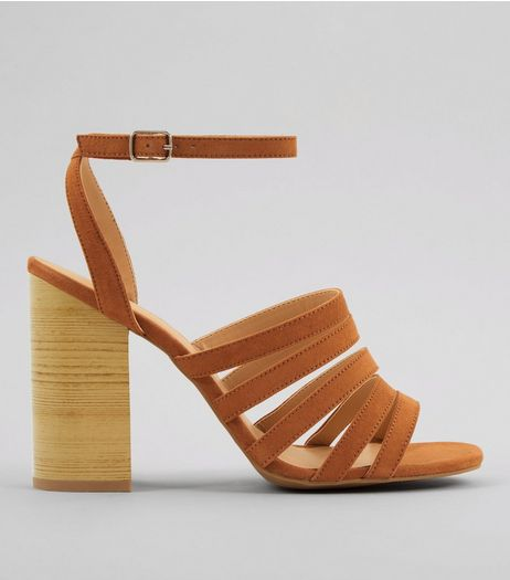 Tan Multi Strap Wooden Block Heeled Sandals | New Look