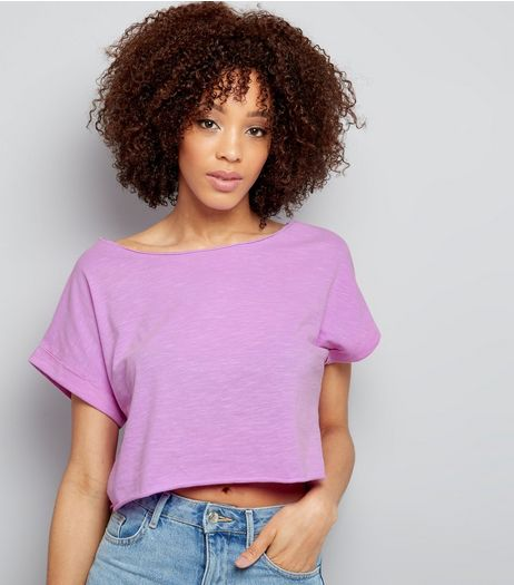 Purple Short Sleeve Crop Top  | New Look