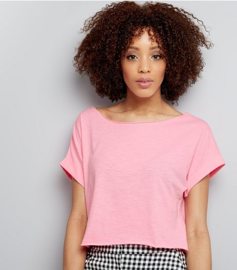 Bright Pink Rolled Sleeve Crop Top  | New Look