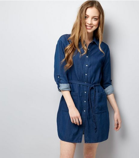 Mela Blue Long Sleeve Tie Waist Shirt Dress  | New Look