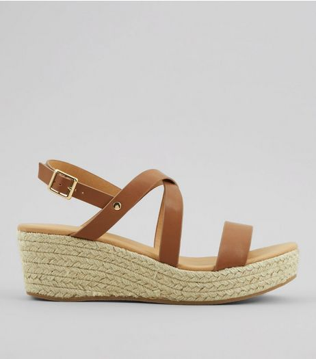 Tan Platform Espadrille Wedge Heels | New Look