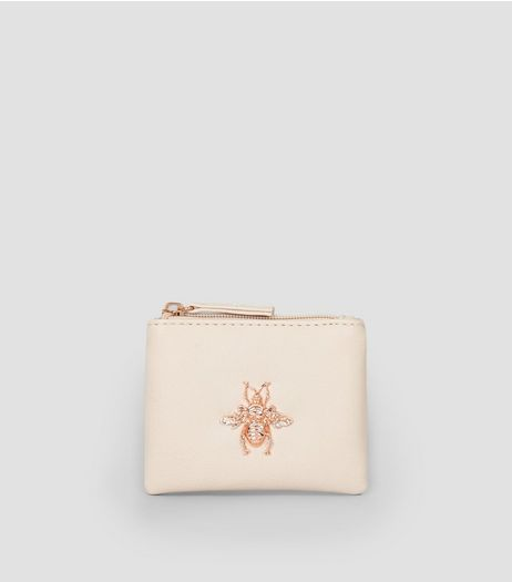 Pink Metal Bee Charm Zip Top Purse | New Look