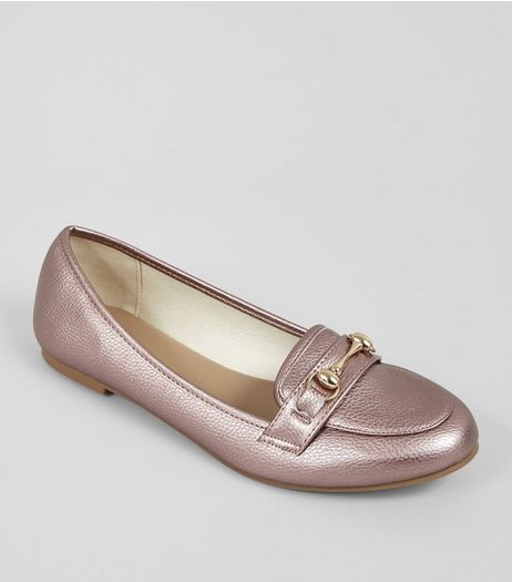 Pink Metallic Trim Loafers | New Look