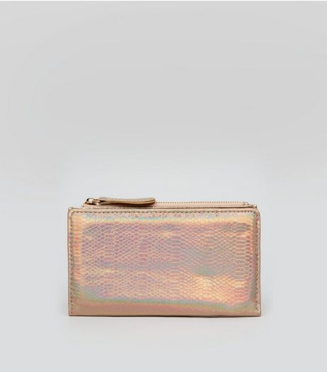 Rose Gold Holographic Snakeskin Textured Purse | New Look
