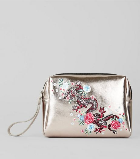 Gold Dragon Embroidered Pouch | New Look