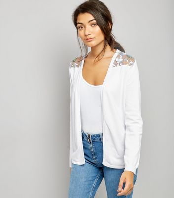 White Contrast Floral Lace Back Cardigan