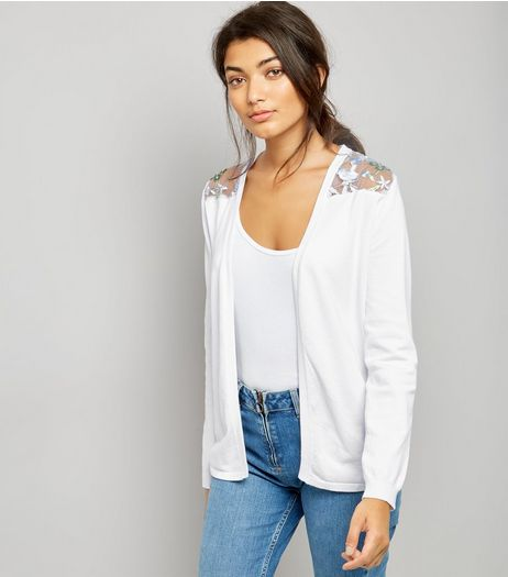 White Contrast Floral Lace Back Cardigan | New Look
