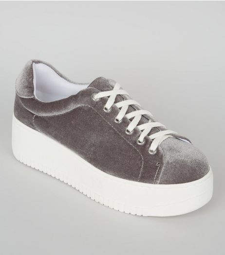 Grey Velvet Flatform Trainers | New Look