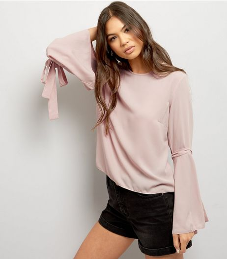 Blue Vanilla Deep Pink Tie Bell Sleeve Top | New Look
