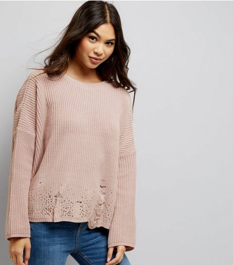 Pink Ladder Knit Hem Jumper | New Look